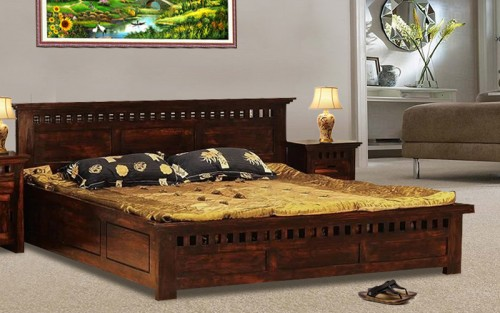 Solid Wood Kuber Queen Size Bed