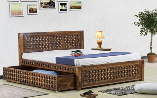Solid Wood Shekhawati Bakhra Queen Size Bed