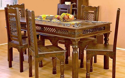Brizza Solid Wood Dining Set 6 Seater