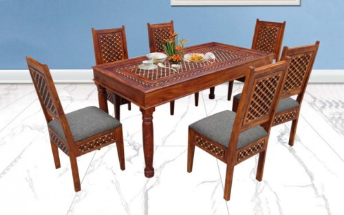 Braggi Sheesham Wood Dining Set 6 Seater