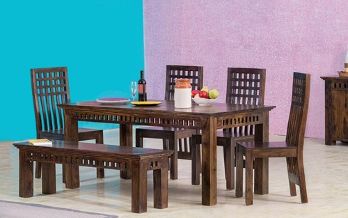 Momozz Solid Wood Dining Set 4 Seater