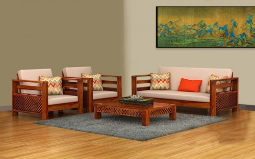 CNC Plaffo Solid Wood Single Seater Sofa