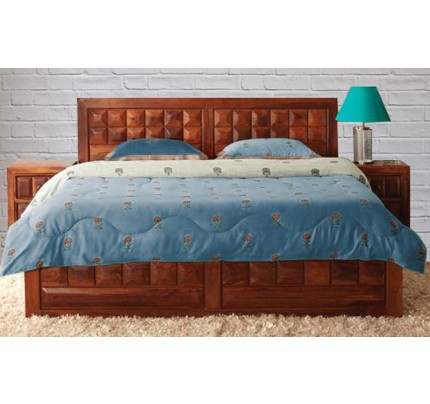 Solid Wood Caramel Queen Size Bed