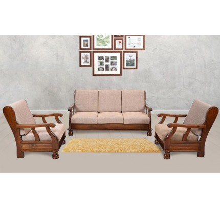 Hansling Solid Wood Three Seater Sofa