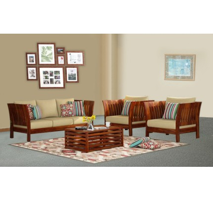 Linear Solid Wood Three Seater Sofa