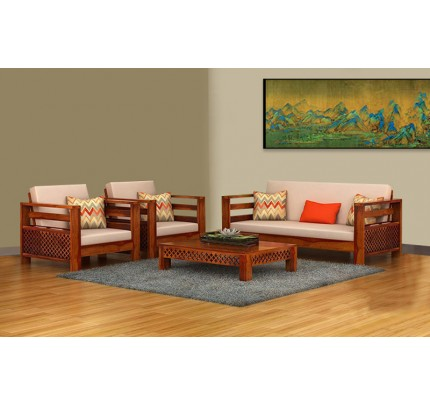 CNC Plaffo Solid Wood Three Seater Sofa