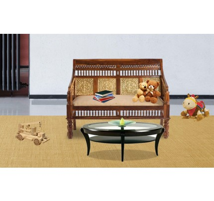 Rajasthani Crafted Solid Wood Double Seater  Sofa