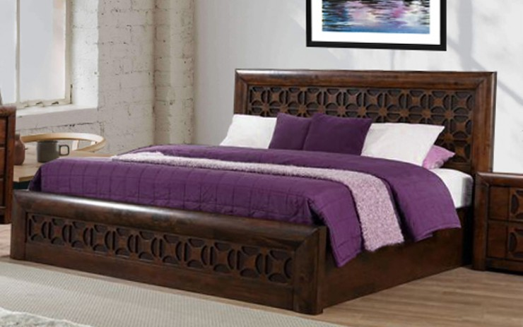 Solid Wood Chocolic Queen Size Bed