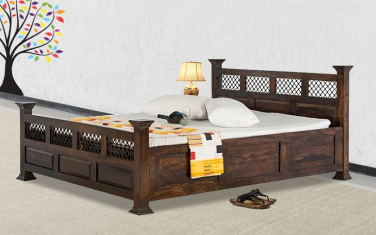 Solid Wood Dalla Jali King Size Bed