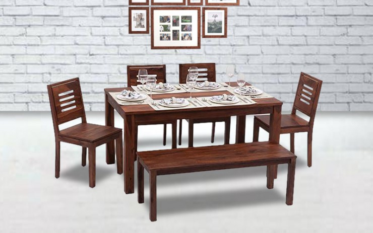Benstica Solid Wood Dining Set 6 Seater