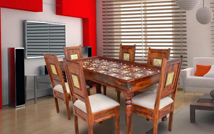 Brasita Solid Wood Dining Set 6 Seater