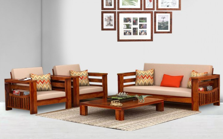 Magrine Solid Wood Double Seater Sofa